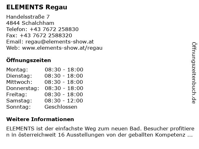 ELEMENTS Regau in Schalchham: Adresse und Öffnungszeiten