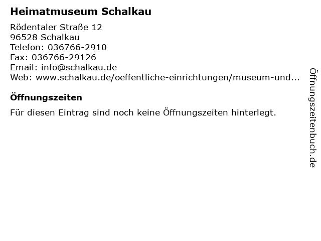 Heimatmuseum Schalkau in Schalkau: Adresse und Öffnungszeiten