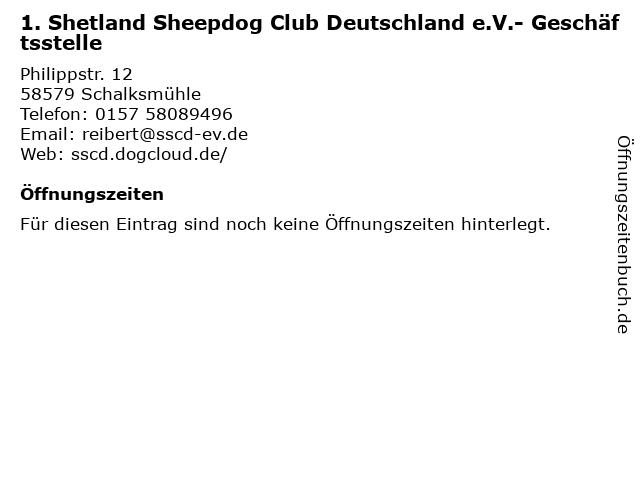 1. Shetland Sheepdog Club Deutschland e.V.- Geschäftsstelle in Schalksmühle: Adresse und Öffnungszeiten