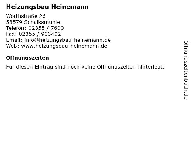 Heizungsbau Heinemann in Schalksmühle: Adresse und Öffnungszeiten