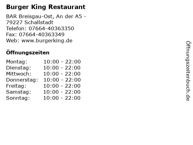 Burger King Restaurant in Schallstadt: Adresse und Öffnungszeiten