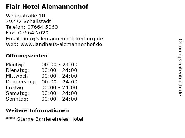 Flair Hotel Alemannenhof in Schallstadt: Adresse und Öffnungszeiten