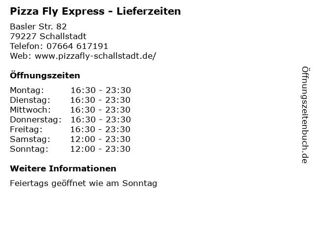 Pizza Fly Express - Lieferzeiten in Schallstadt: Adresse und Öffnungszeiten