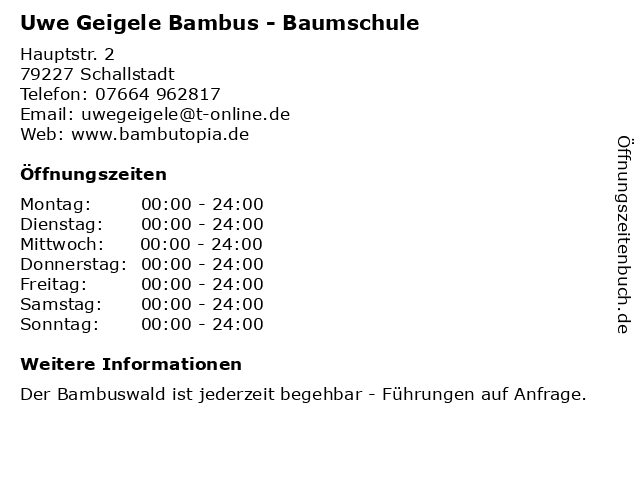 ᐅ Offnungszeiten Uwe Geigele Bambus Baumschule Hauptstr 2 In