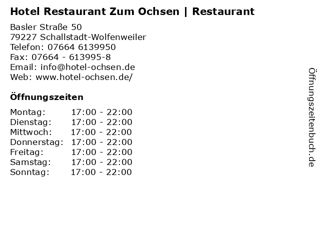 Hotel Restaurant Zum Ochsen | Restaurant in Schallstadt-Wolfenweiler: Adresse und Öffnungszeiten