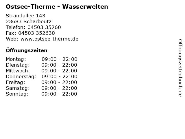 Ostsee-Therme - Wasserwelten in Scharbeutz: Adresse und Öffnungszeiten