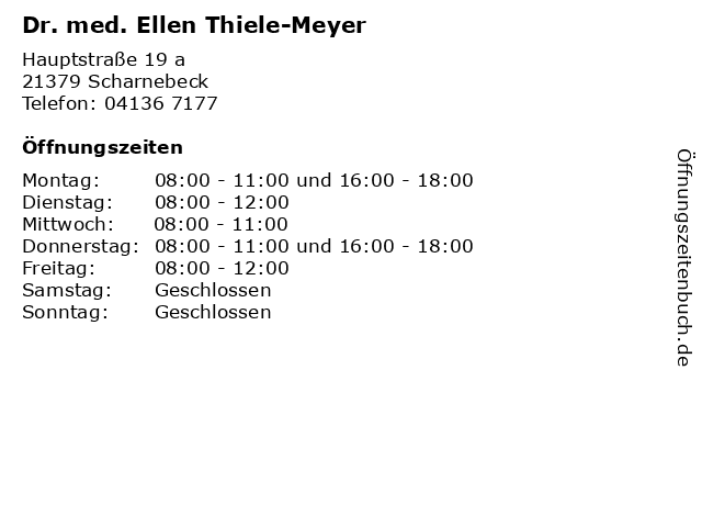Dr. med. Ellen Thiele-Meyer in Scharnebeck: Adresse und Öffnungszeiten