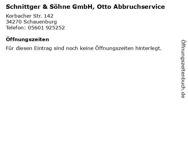 Schnittger & Söhne GmbH, Otto Abbruchservice in Schauenburg: Adresse und Öffnungszeiten