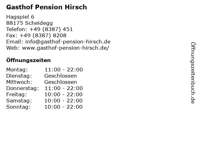 Gasthof Pension Hirsch in Scheidegg: Adresse und Öffnungszeiten