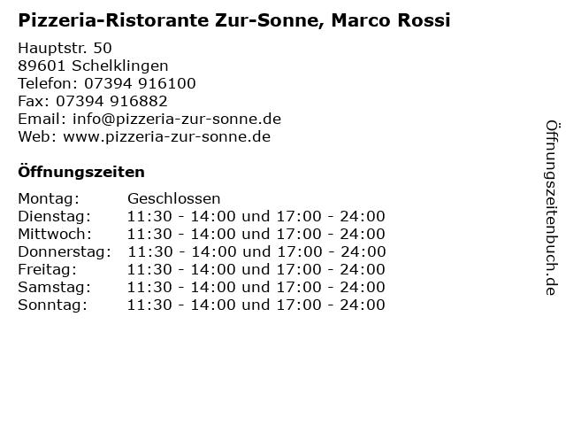 Pizzeria-Ristorante Zur-Sonne, Marco Rossi in Schelklingen: Adresse und Öffnungszeiten