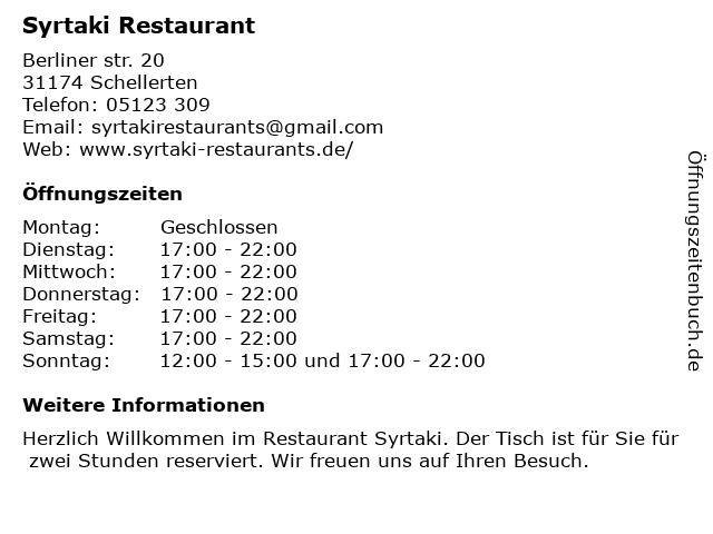 Syrtaki Restaurant in Schellerten: Adresse und Öffnungszeiten
