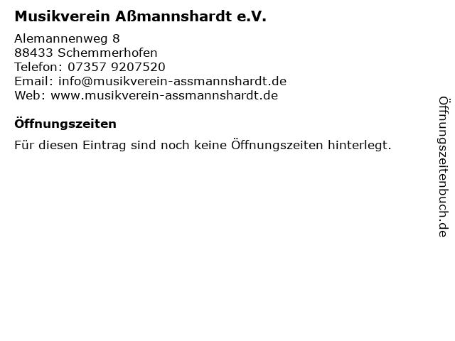 Musikverein Aßmannshardt e.V. in Schemmerhofen: Adresse und Öffnungszeiten