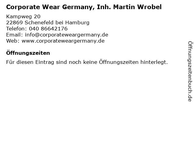 Corporate Wear Germany, Inh. Martin Wrobel in Schenefeld bei Hamburg: Adresse und Öffnungszeiten