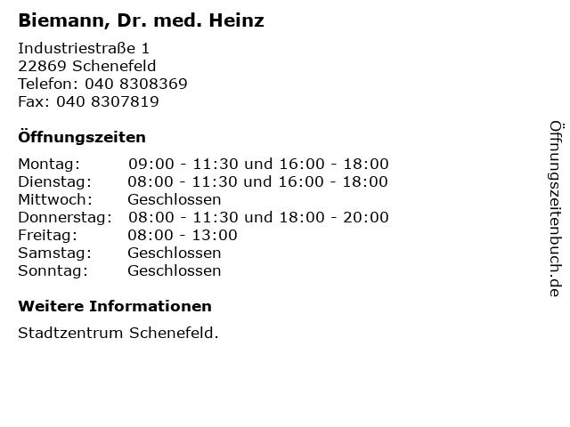 Biemann, Dr. med. Heinz in Schenefeld: Adresse und Öffnungszeiten