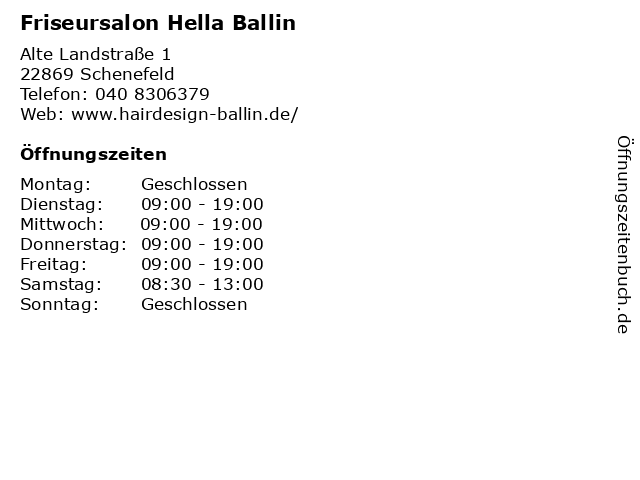 Friseursalon Hella Ballin in Schenefeld: Adresse und Öffnungszeiten