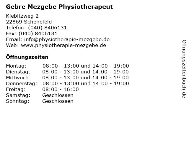 Gebre Mezgebe Physiotherapeut in Schenefeld: Adresse und Öffnungszeiten