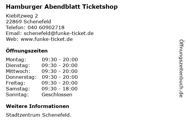 Hamburger Abendblatt Ticketshop in Schenefeld: Adresse und Öffnungszeiten