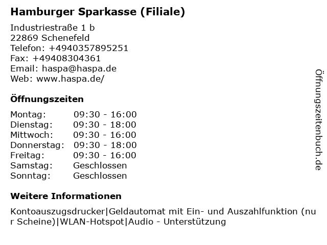 Haspa - Hamburger Sparkasse AG - Finanz-Center Schenefeld (363) in Schenefeld: Adresse und Öffnungszeiten