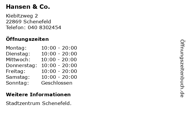 Hansen & Co. in Schenefeld: Adresse und Öffnungszeiten