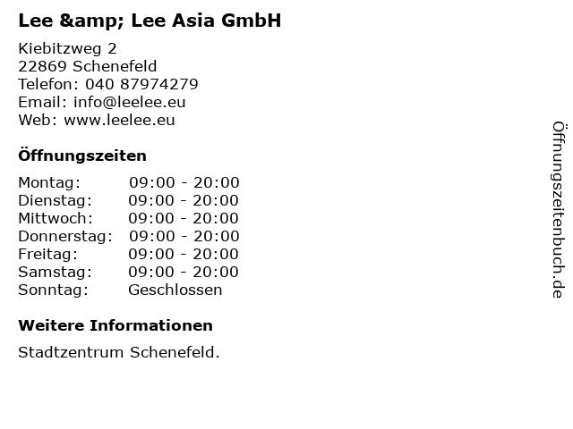 Lee & Lee Asia GmbH in Schenefeld: Adresse und Öffnungszeiten