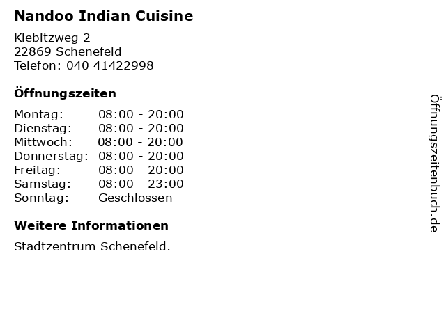 Nandoo Indian Cuisine in Schenefeld: Adresse und Öffnungszeiten