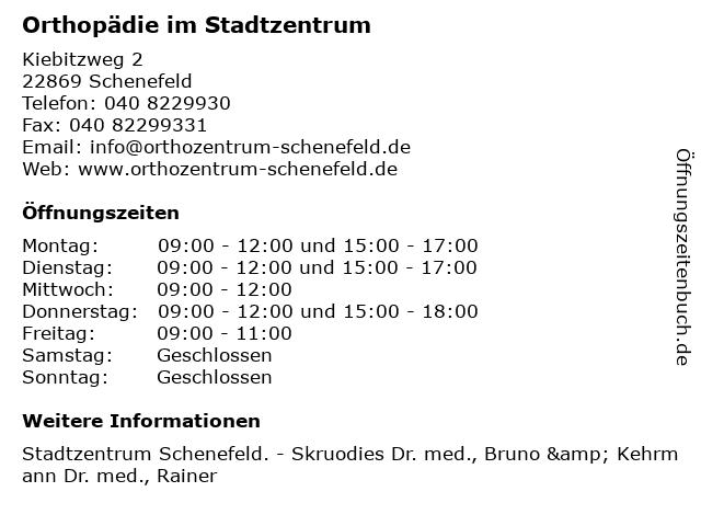 Orthopädie im Stadtzentrum in Schenefeld: Adresse und Öffnungszeiten