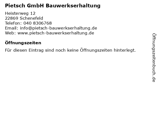 Pietsch GmbH Bauwerkserhaltung in Schenefeld: Adresse und Öffnungszeiten