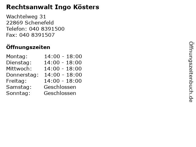 Rechtsanwalt Ingo Kösters in Schenefeld: Adresse und Öffnungszeiten