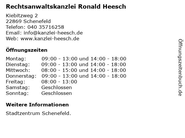 Rechtsanwaltskanzlei Ronald Heesch in Schenefeld: Adresse und Öffnungszeiten