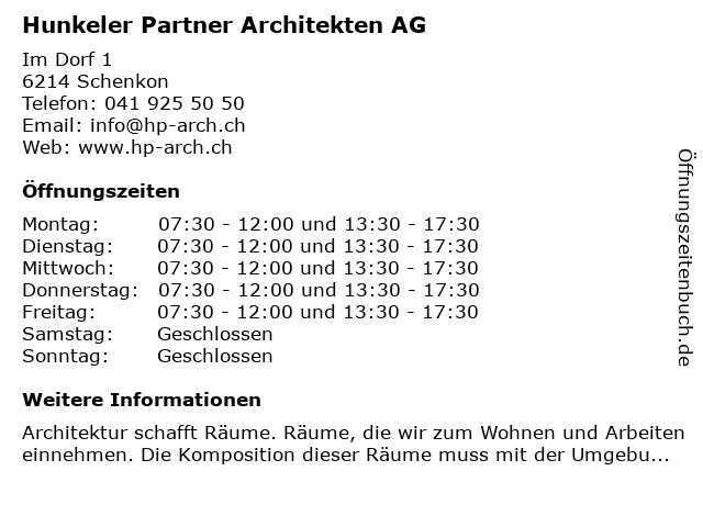 Hunkeler Partner Architekten AG in Schenkon: Adresse und Öffnungszeiten