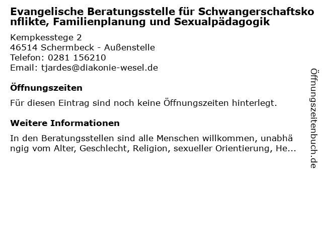 Evangelische Beratungsstelle für Schwangerschaftskonflikte, Familienplanung und Sexualpädagogik in Schermbeck - Außenstelle: Adresse und Öffnungszeiten