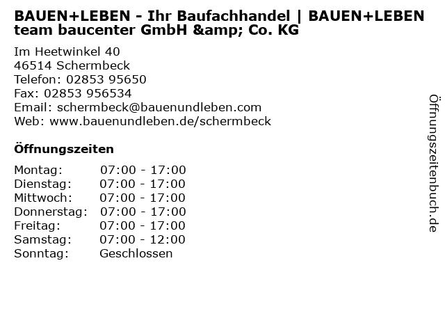 BAUEN+LEBEN team baucenter  GmbH & Co. KG in Schermbeck: Adresse und Öffnungszeiten