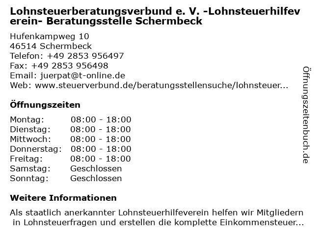 Lohnsteuerberatungsverbund e. V. -Lohnsteuerhilfeverein- Beratungsstelle Schermbeck in Schermbeck: Adresse und Öffnungszeiten
