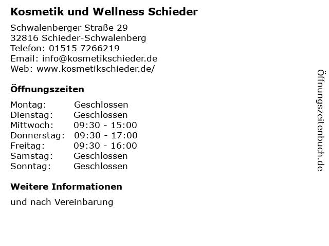 Kosmetik und Wellness Schieder in Schieder-Schwalenberg: Adresse und Öffnungszeiten
