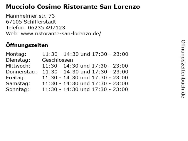 Mucciolo Cosimo Ristorante San Lorenzo in Schifferstadt: Adresse und Öffnungszeiten
