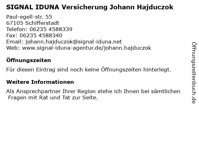 SIGNAL IDUNA Versicherung Johann Hajduczok in Schifferstadt: Adresse und Öffnungszeiten