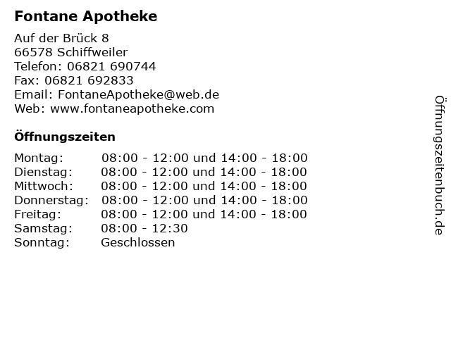 Fontane Apotheke in Schiffweiler: Adresse und Öffnungszeiten