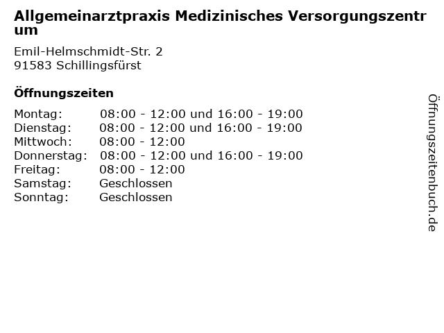 Allgemeinarztpraxis Medizinisches Versorgungszentrum in Schillingsfürst: Adresse und Öffnungszeiten