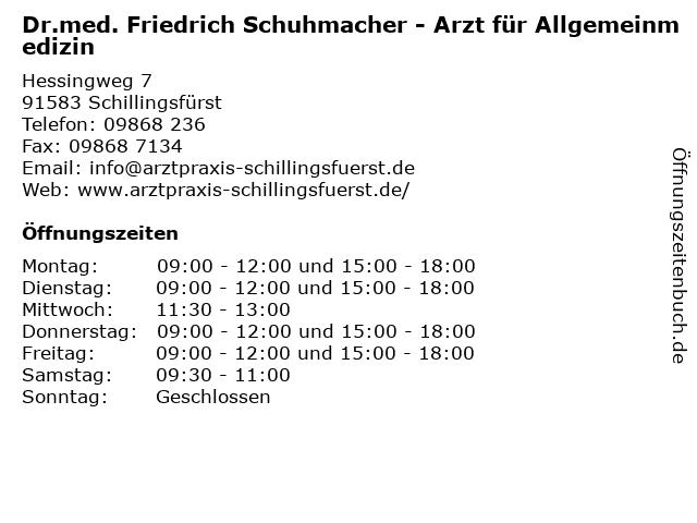 Dr.med. Friedrich Schuhmacher in Schillingsfürst: Adresse und Öffnungszeiten