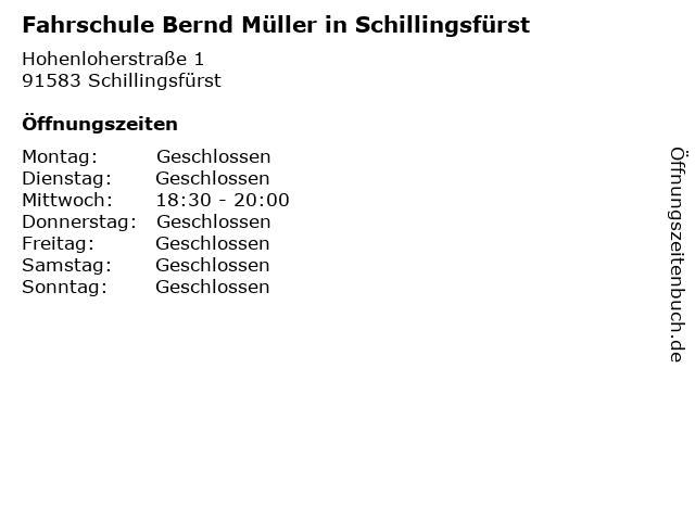 Fahrschule Bernd Müller in Schillingsfürst in Schillingsfürst: Adresse und Öffnungszeiten