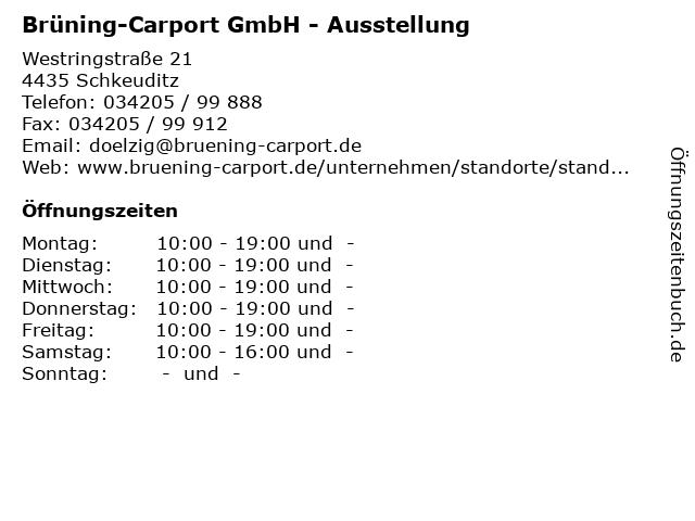 Brüning-Carport GmbH - Ausstellung in Schkeuditz: Adresse und Öffnungszeiten