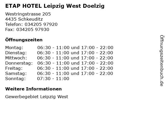 ᐅ Offnungszeiten Etap Hotel Leipzig West Doelzig
