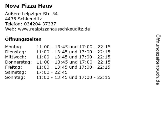 Nova Pizza Haus in Schkeuditz: Adresse und Öffnungszeiten
