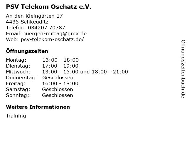 PSV Telekom Oschatz e.V. in Schkeuditz: Adresse und Öffnungszeiten