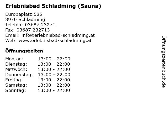 Erlebnisbad Schladming (Sauna) in Schladming: Adresse und Öffnungszeiten