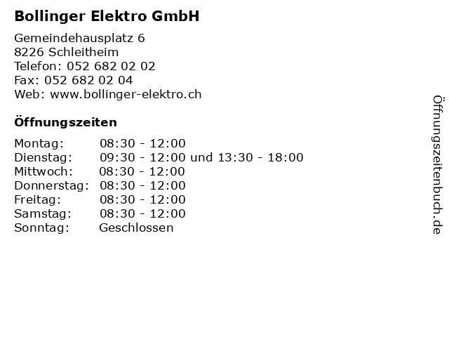 Bollinger Elektro GmbH in Schleitheim: Adresse und Öffnungszeiten