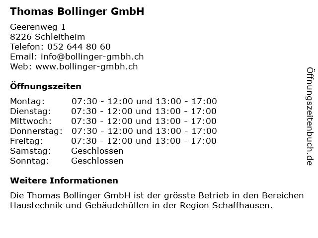 Thomas Bollinger GmbH in Schleitheim: Adresse und Öffnungszeiten