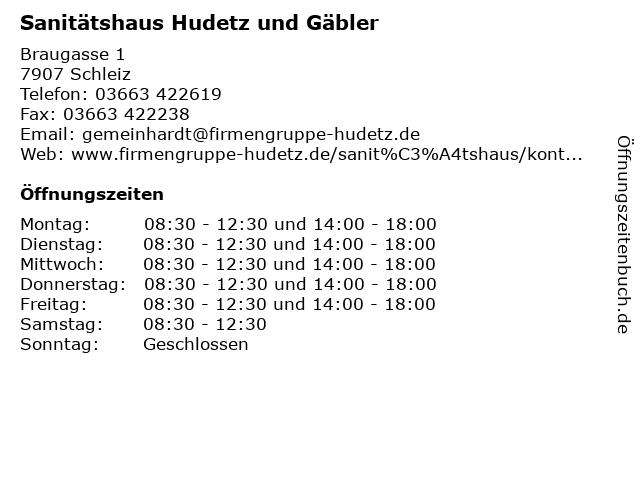 Sanitätshaus Hudetz und Gäbler in Schleiz: Adresse und Öffnungszeiten
