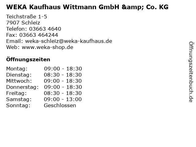 WEKA Kaufhaus Wittmann GmbH & Co. KG in Schleiz: Adresse und Öffnungszeiten