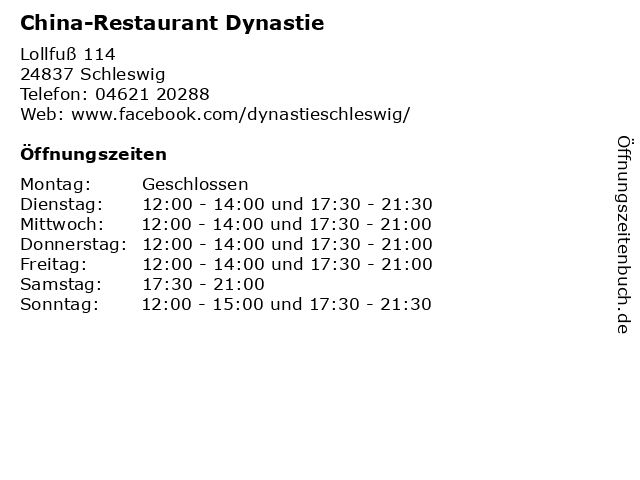 China-Restaurant Dynastie in Schleswig: Adresse und Öffnungszeiten